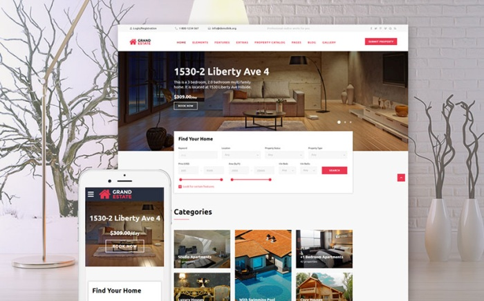 Apartment Rent Bootstrap Template