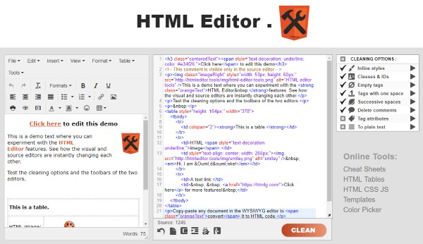 html editor tools