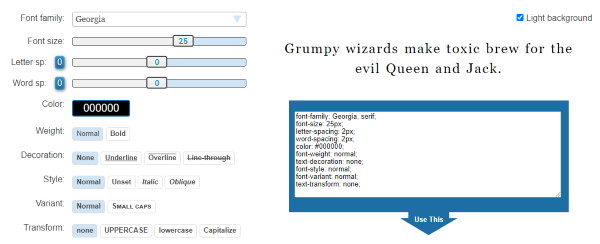 css font style generator