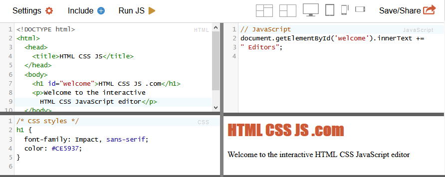 interactive online html css js editor