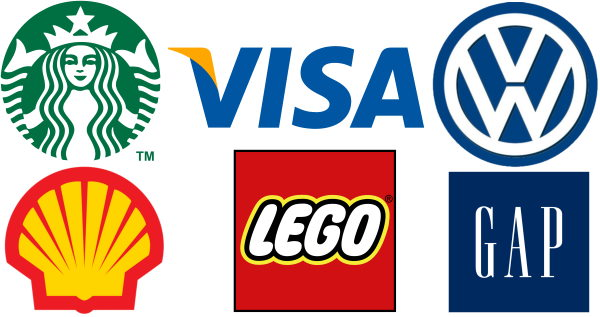 starbucks visa vw shell lego gap